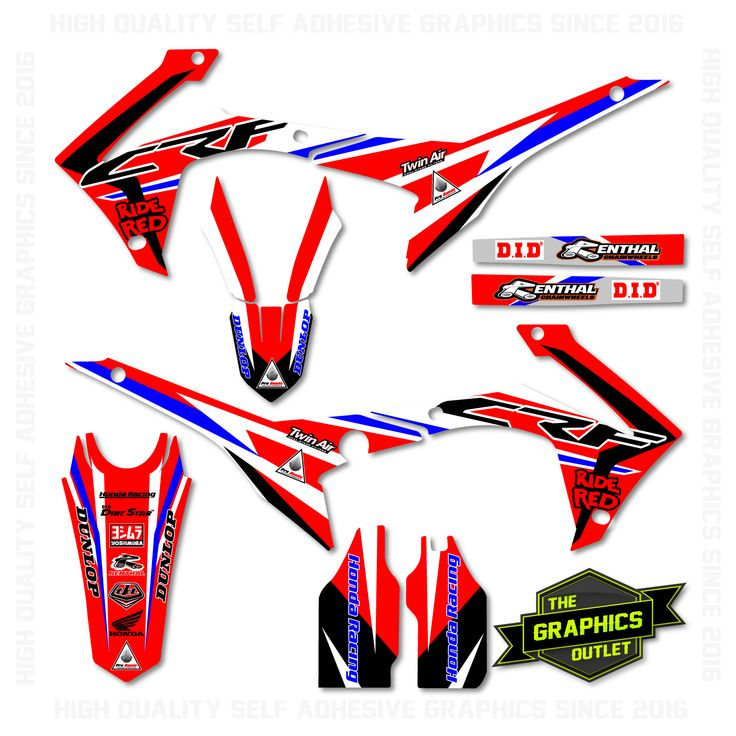 HONDA CRF250 2014-16 / CRF450 2013-16 - RIDE RED FACTORY REPLICA - SPLIT KIT MOTOCROSS GRAPHICS