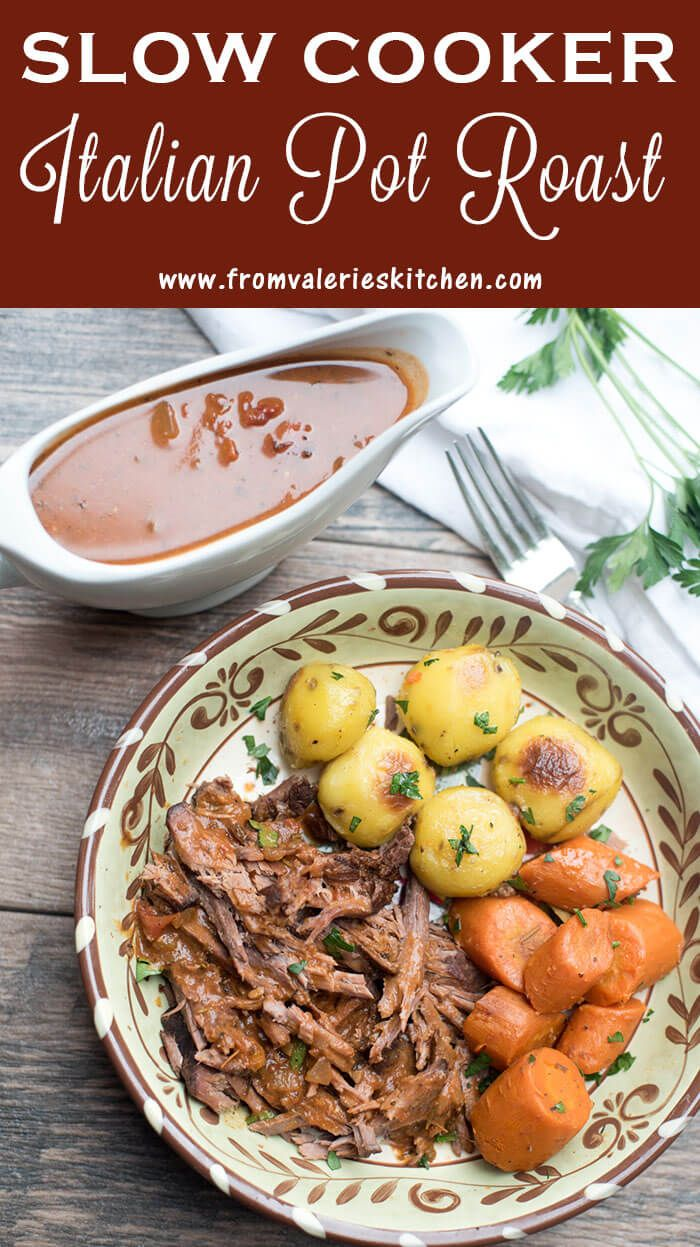 Slow cooked in a luscious tomato based sauce with carrots, this Slow Cooker Italian Pot Roast makes a fabulous meal for any night of the week! ~ http://www.fromvalerieskitchen.com