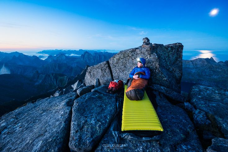 "house-under-a-rock: "" Cody Duncan bivying on the summit of Hermannsdalstinden, Moskenesoy, Lofoten Islands, Norway """
