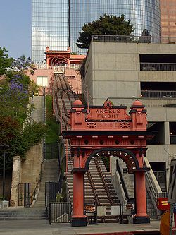 Angels Flight (or Angel's Flight) is a landmark funicular railway in the Bunker Hill district of Downtown Los Angeles, California. It has two funicular cars: Sinai and Olivet. I went there in 1961 at 5