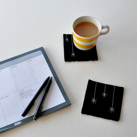 Black star/icicle coasters: Black linen fabric by EdgeEffects