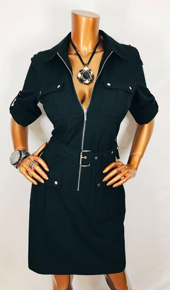 a43752dbf38954 Michael Kors M NWT Dress Stretch Black Silver MK Logo Zipper   Buttons Belt  3 4