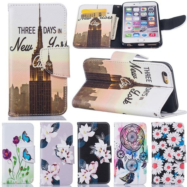 For Apple iPhone 6 Case Flip Leather Wallet Silicone Cover iPhone 6s Case Flower Patterns Phone Case Wallet Card Solt Coque Capa