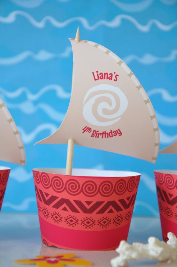 Moana Polynesian inspired cupcake wrappers by GlitterInkDesigns