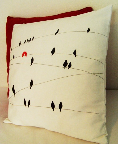 birds on wires on pillows on...