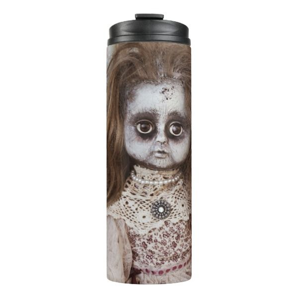 Creepy Gothic Porcelain Doll Victorian Goth Thermal Tumbler #halloween #holiday #drinkware #party #cups