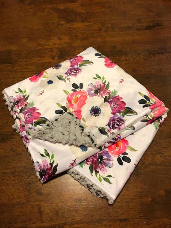Watercolor Floral Blanket Faux Fur Minky Blanket Pink