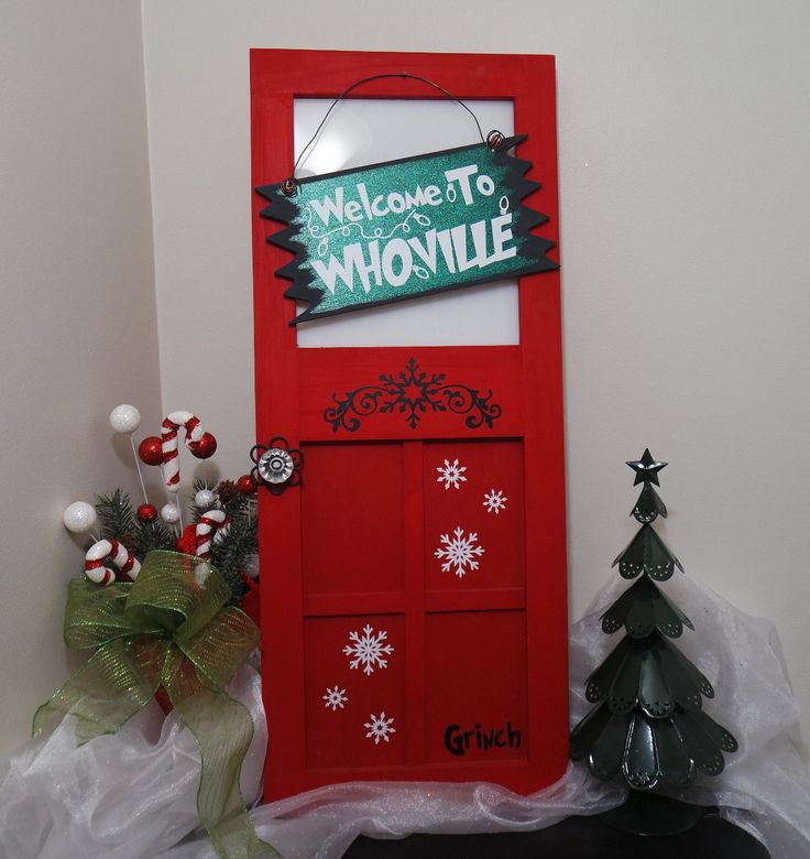 The Grinch Hanging Mini Wood Door, Welcome To Whoville Mini Wood Door, The Grinch Christmas Decoration, Christmas Wreath Alternative by CraftyWitchesDecor on Etsy