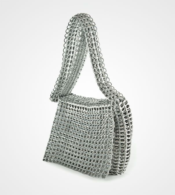 recycling at its best! bag made out of soda can tags