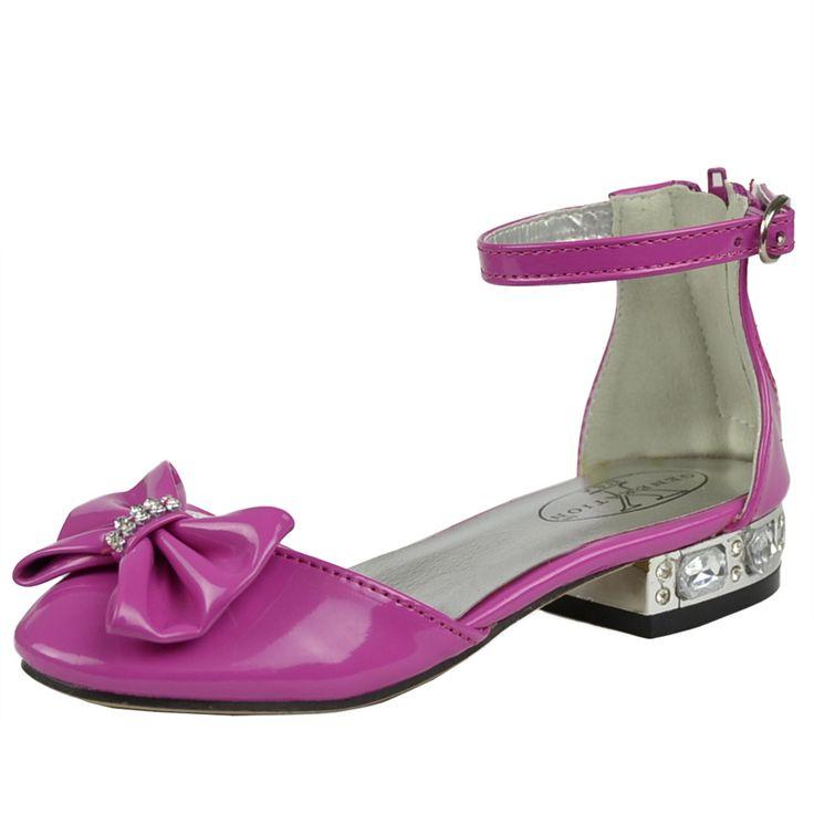 Kids Dress Shoes Metallic Heel Rhinestone Bow Accent Low Heel Pageant Sandals Fuchsia