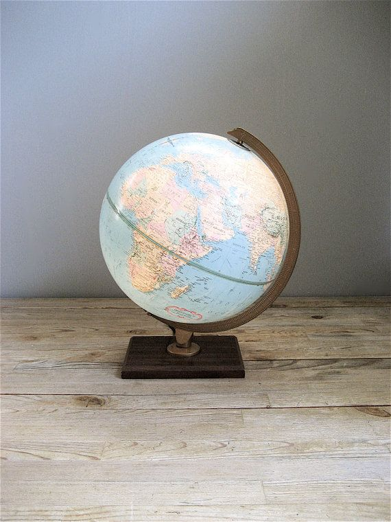 Vintage Replogle Lighted World Globe by lovintagefinds on Etsy