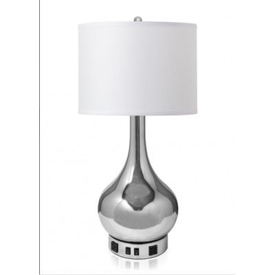 Delightful Chrome Bottle Table Lamp With Drum Shade And Outlets TL11116