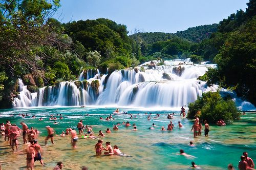 Waterfall and pool in Krka National Park, Croatia