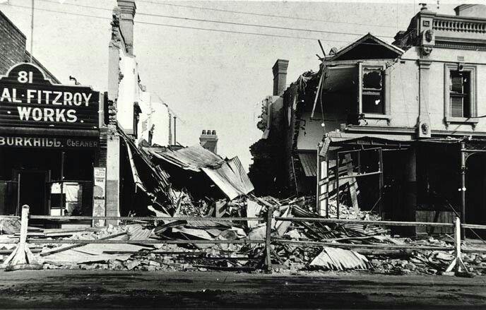 Gas leak explosion Brunswick St Fitzroy 1913