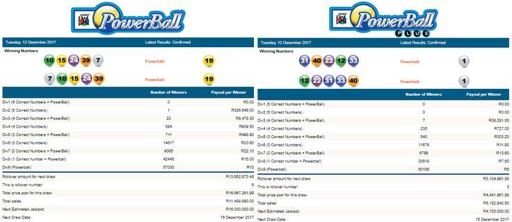 Latest #PowerballResults & #PowerballPlusResults South Africa | 12 December 2017  https://www.playcasino.co.za/latest-south-african-powerball-results.html