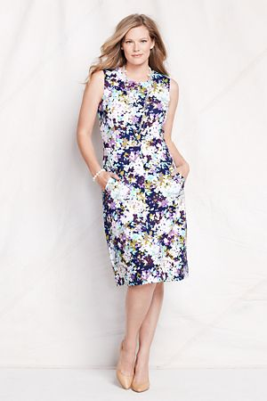 Go wild for prints with this Ponte Jersey Sleeveless Sheath Dress!