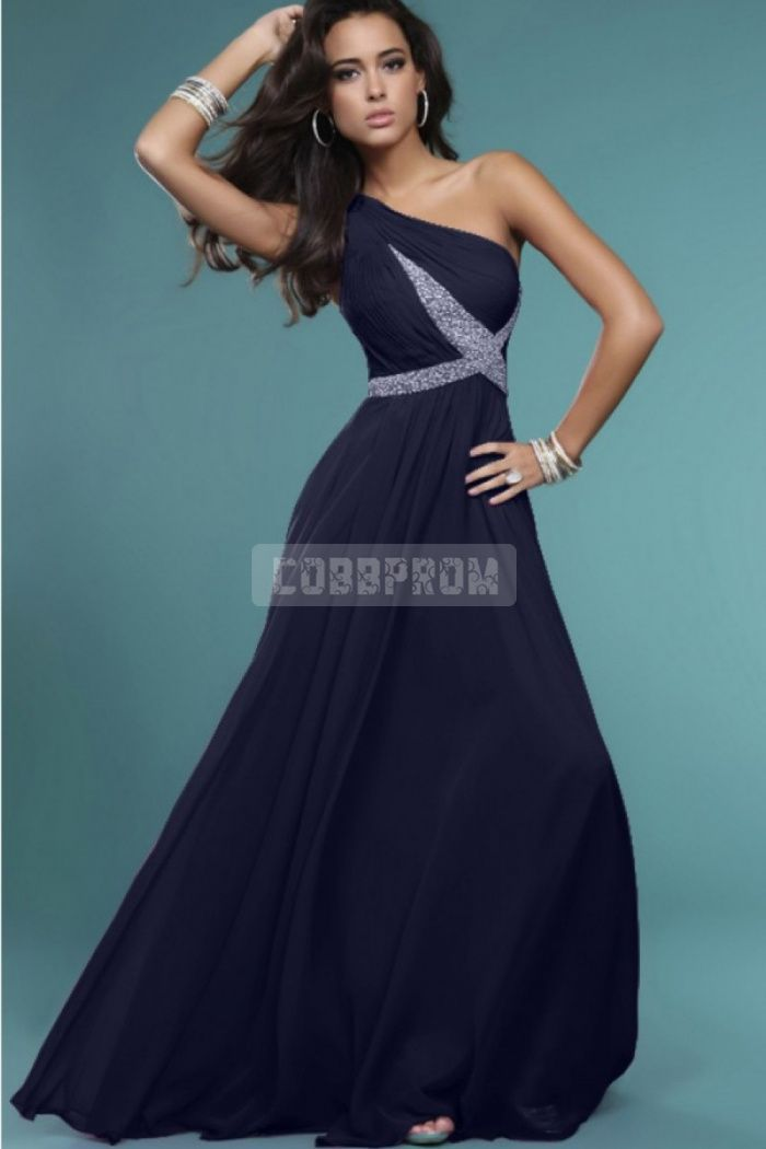 Long One Shoulder A-line Natural Waist Chiffon Prom Dress