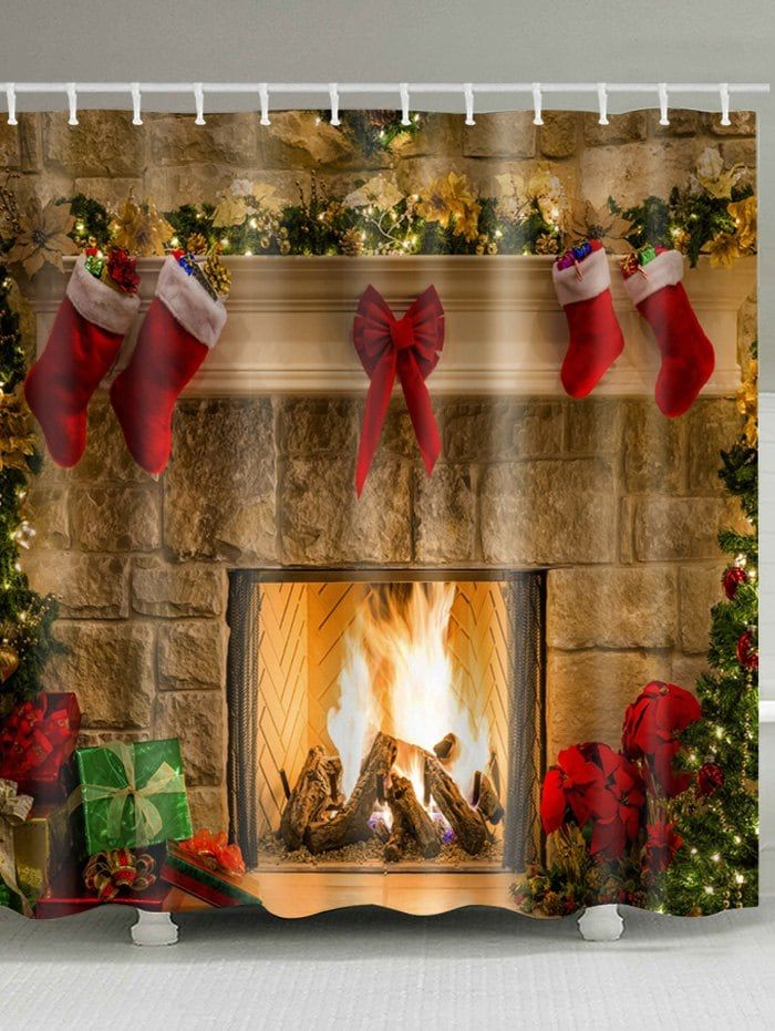 Christmas Red Socks Xmas Eve Fireplace Gifts Shower Curtain Set Bathroom Decor