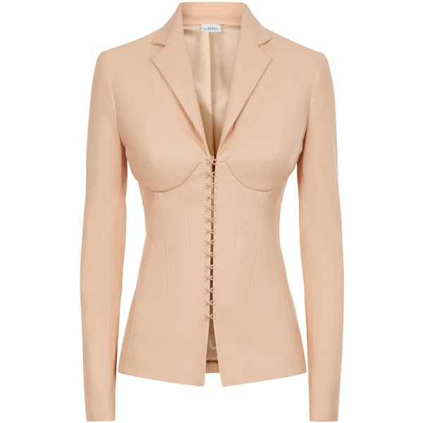 La Perla Leather Peach Lambskin Leather Corset Jacket With Built-In... (€2.815) ❤ liked on Polyvore featuring outerwear, jackets, intimates, pink leather jacket, peach leather jacket, long jacket, lambskin jacket and lambskin leather jackets