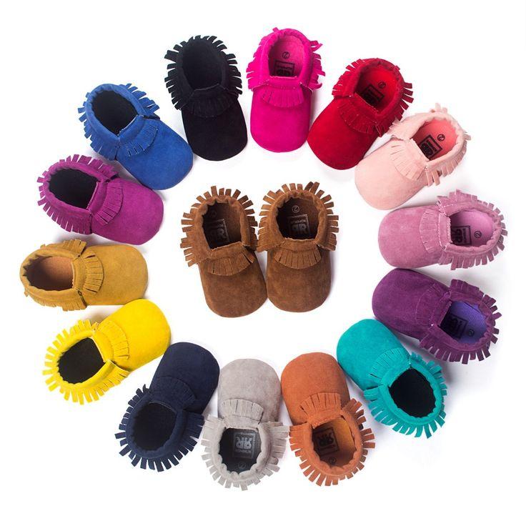 Hot PU Suede couro do bebê recém-nascido menino menina bebê mocassins suave Moccs sapatos Bebe franja de sola macia não - deslizamento calçados berço Shoe