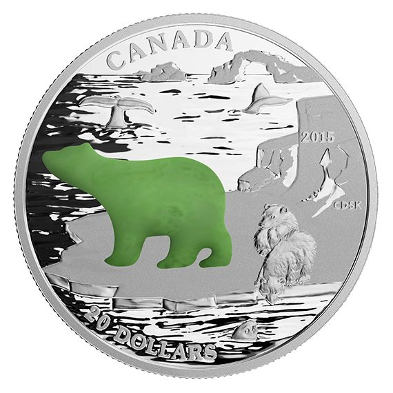 1 oz. Fine Silver Coin with Jade Insert – Canadian Icons: Polar Bear – Mintage: 8,500 (2015)