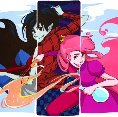 Marcline, Marshall Lee, prince gumball, and Princess bubblegum