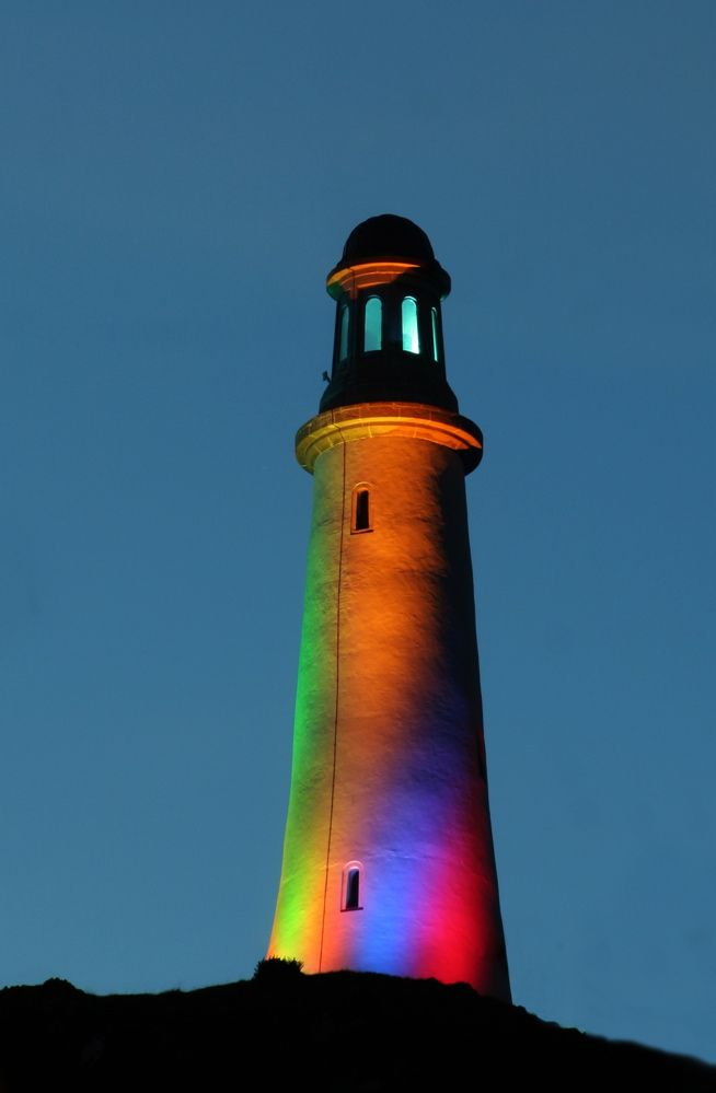 multi-colored light house