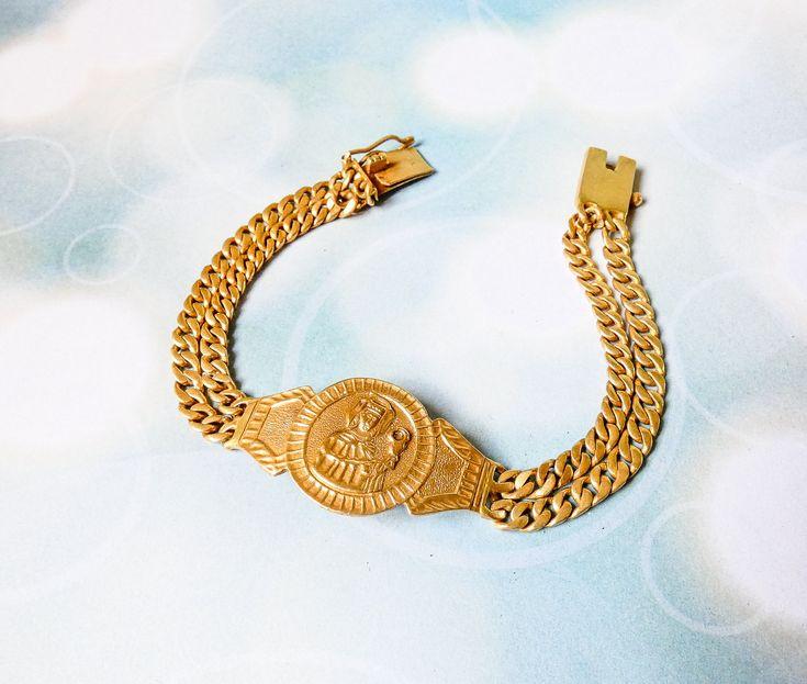 Antique 14k gold bracelet vintage yellow gold chain