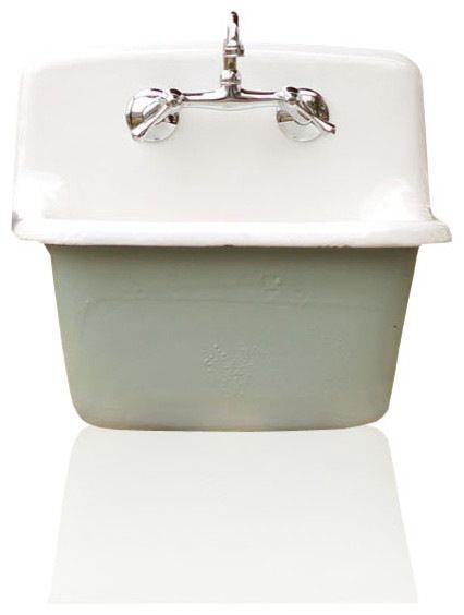 Deep Utility Sink Antique Style Cast Iron Porcelain Farm Sink Package Green Blue farmhouse-utility-sinks