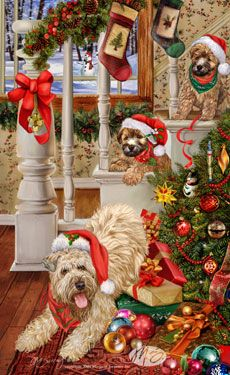 "Soft Coated Wheaten Terrier Christmas cards are 8 1/2"" x 5 1/2"" and come in packages of 12 cards. One design per package. All designs include envelopes, your personal message, and choice of greeting. Select your greeting from the drop-down menu above.Add your personal message to the Comments box during checkout."