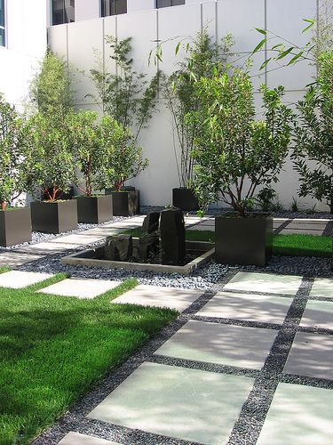 Large pavers stones and grass
