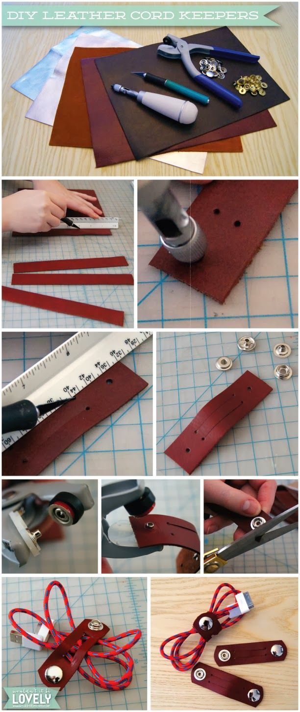 DIY Leather Cord Keepers, Cable Organizers, Easy DIY Gift for the tech lover, Last Minute Gifts, Wouldn't it be Lovely