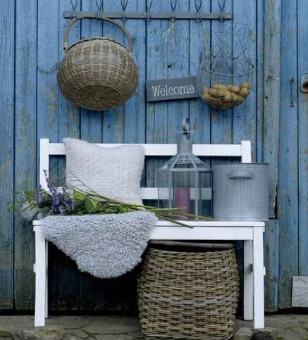 lovely blue wall and decor: Buckets, Shabby Chic, Blue Wall, Front Decks, Baskets, Outdoor Spaces, Old Lanterns, Country, Gardens Benches