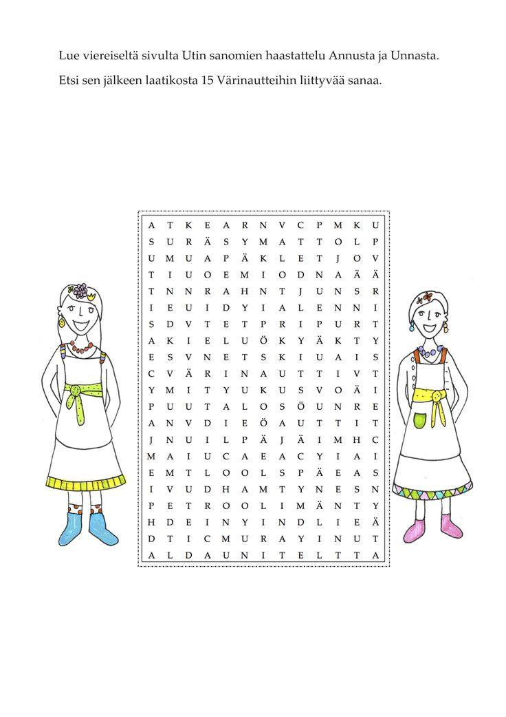 Sanalaatikko, etsi Värinautteihin liittyviä sanoja, äidinkieli