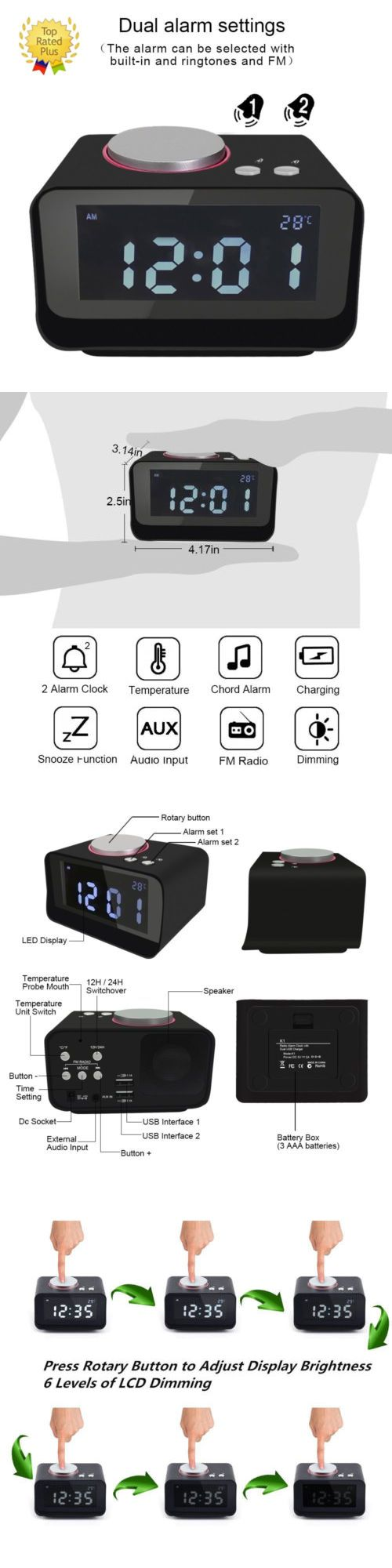 Digital Clocks and Clock Radios: Dual Alarm Clock Fm Radio Usb Charging Brightness Dimmer Sleep Timer Us Shipping -> BUY IT NOW ONLY: $32.99 on eBay!