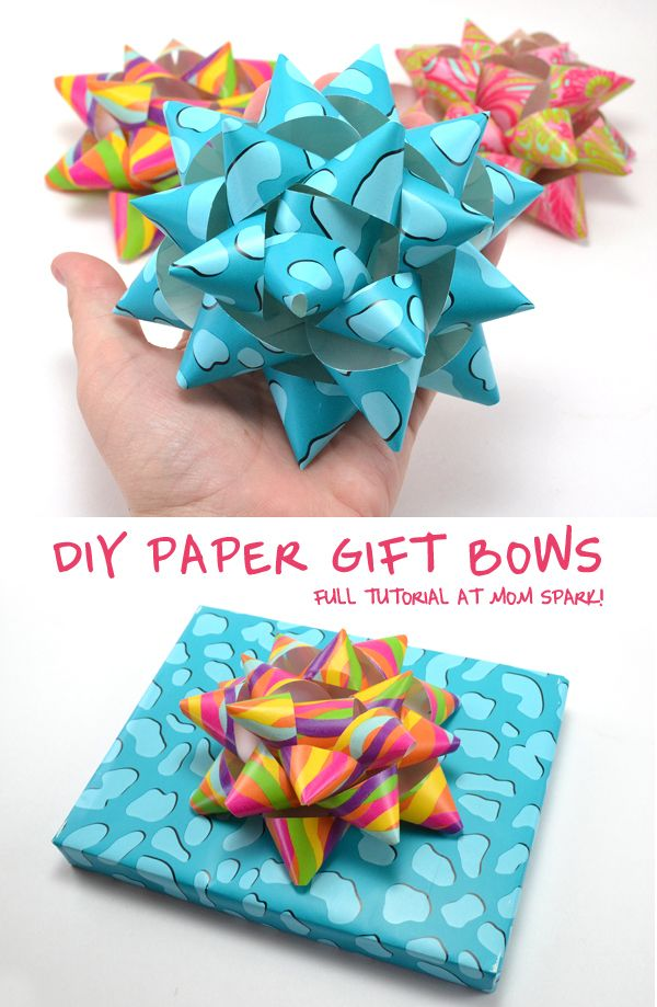 DIY Paper Gift Bows, seriously what a great idea  and they don't sound too hard to make either. I will definitely be trying this one out! Make your own bows DIY present bows