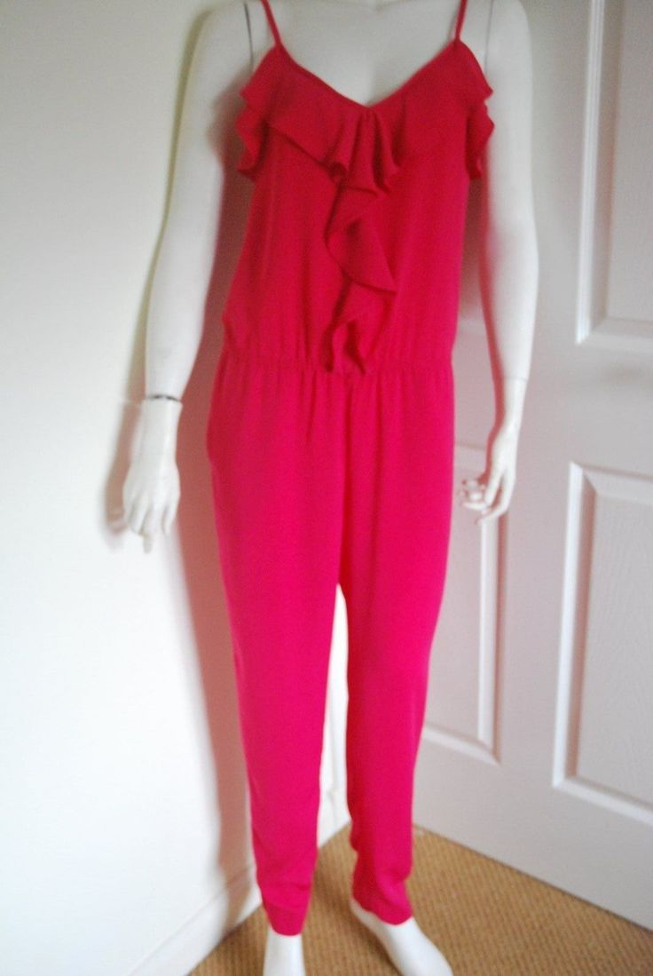 *H&M* Hot Pink Ruffle Detail Summer Cruise Jumpsuit Playsuit UK 8 BNWT SOLD OUT! | eBay