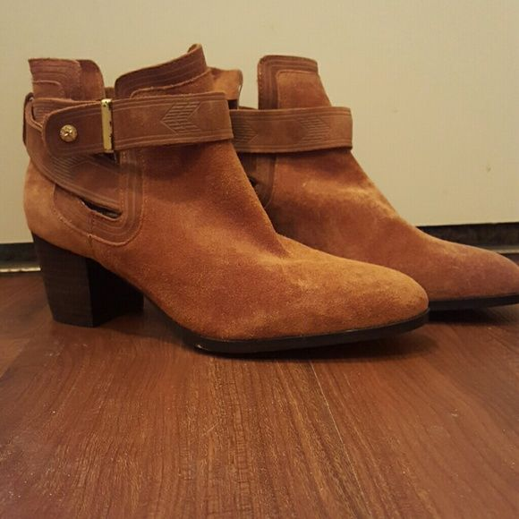 Cynthia Vincent tan suede ankle boots Gently used Cynthia Vincent tan suede ankle boots. Ankle straps have embedded detail. Cynthia Vincent Shoes Ankle Boots & Booties