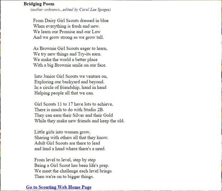Bridging Poem | Girl Scouts | Pinterest | Ragazze scout ...