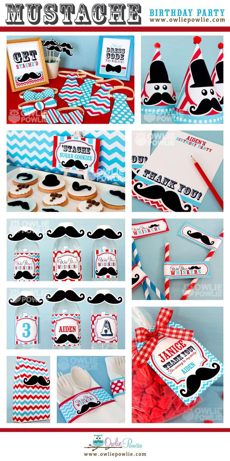 Throw a fun kids party with our Vintage Little Man Mustache Bash Dessert table in red & blue colour theme. Find our DIY Birthday Party printables decoration at www.owliepowlie.com