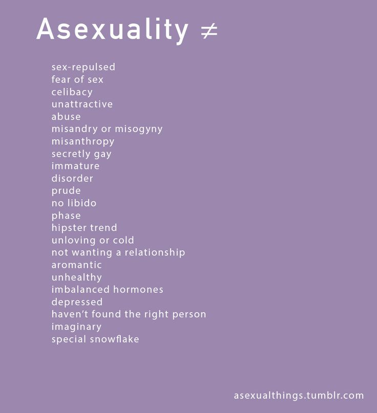 Asexuality ≠ sex repulsed, fear of sex, celibacy, unattractive, abuse, misandry/misogyny, misanthropy, secretly gay, immature, disorder, prude, no libido, phase, hipster trend, unloving/cold, not wanting a relationship, aromantic, unhealthy, imbalanced hormones, depressed, haven't found the right person, imaginary, special snowflake