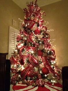 Professionally Decorated Christmas Trees   Peppermint Christmas tree Exquisite professional Christmas decor by ...