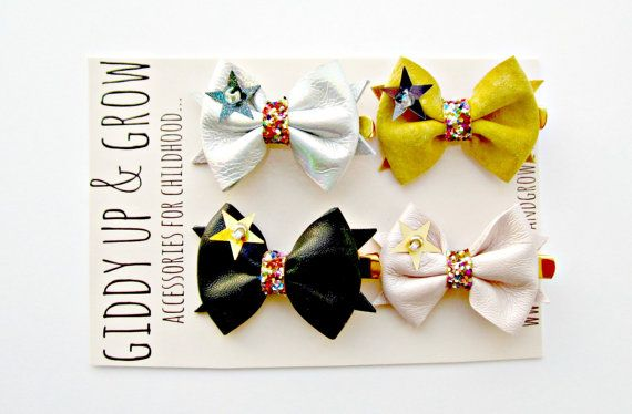 Tiny Leather Bow Hair Clips PICK ANY 2 Glitter by giddyupandgrow