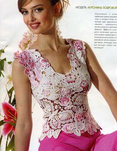 Me encanta esta combinación se ve muy tierna esta bella blusa en crochet irlandés blanco con rosa... se ve elegante.