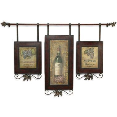 Hanging Wine Collage Iii Features Three Oil Reproductions