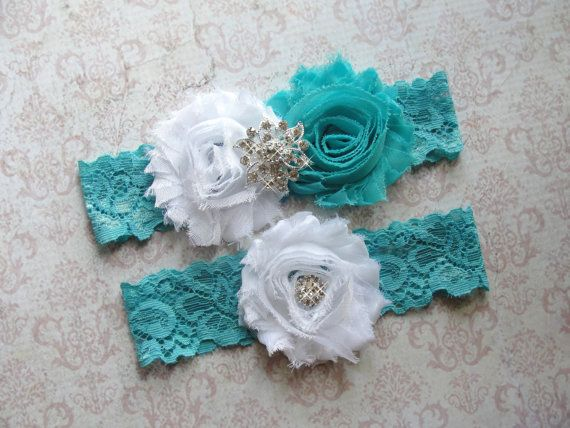 Something Blue Garter Aqua Wedding Garter White Toss by SkyeBridal