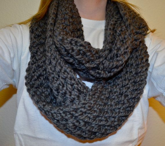 Hand-Knit Charcoal Chunky Infinity Scarf on Etsy, $30.00 Perfect Christmas Gift
