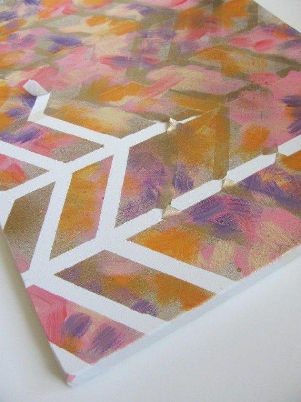 schilderij maken met tape afplakken en schilderen! Daarna eraf halen. Leuk effect. Pinterest