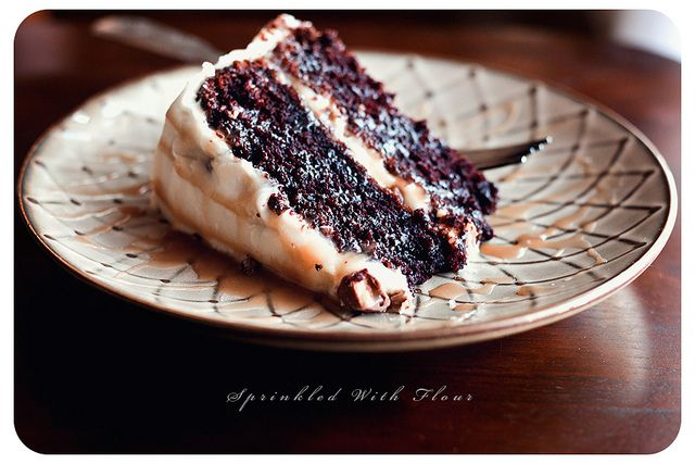 Chocolate Snickers Layer Cake Recipe ~ Something rich, something chocolaty....something that would be a candy lovers dream.