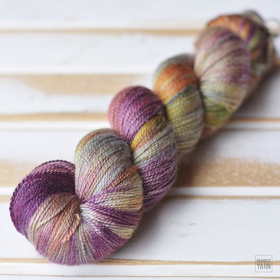 Hand Dyed Silky Merino Lace Yarn - Reog colorway by Papiput Yarn   papiputyarn.etsy.com #knitting #handdyed #yarn